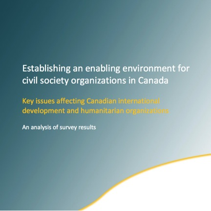 Establishing an enabling environment for civil society organization in Canada: An analysis of survey results