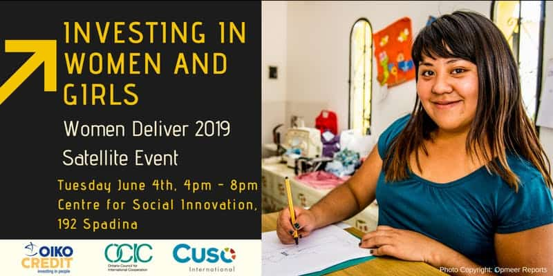 "A banner with text ""Investing in Women and Girls, Women Deliver 2019 Satellite Event"" aside by an image of a woman writing"