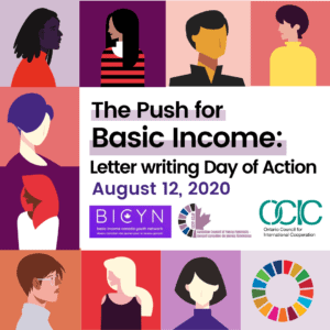 Nine illustrated portraits of youth with colorful backgrounds and overlaying text that says The Push for Basic Income: Letter Writing Day of Action