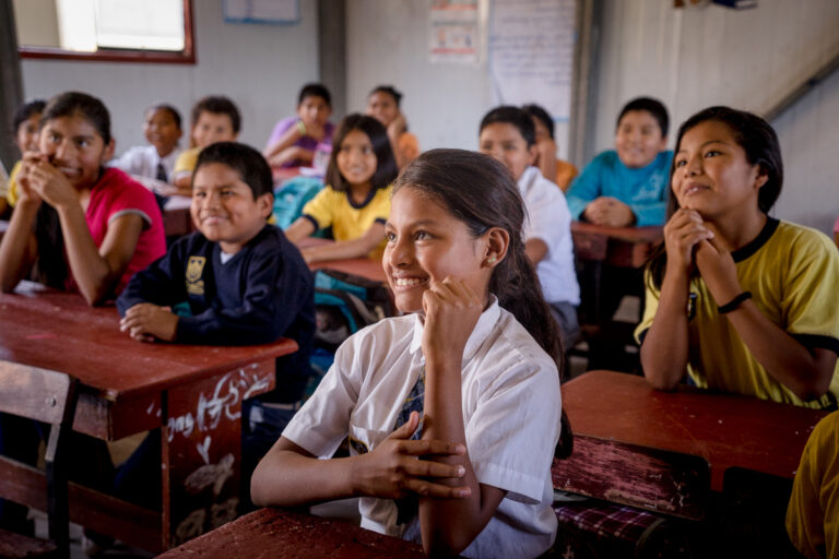 Classroom of smiling kids