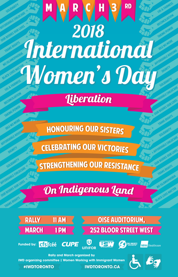 IWD Organizing Committee / Women Working with Immigrant Women event banner