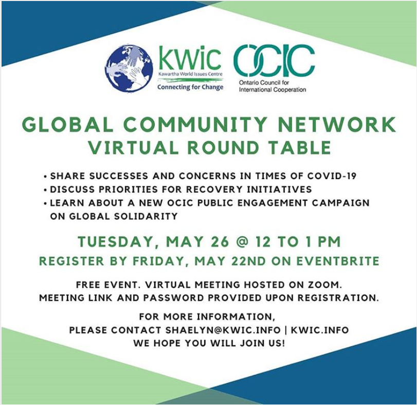 Kawartha World Issues Centre (KWIC) event banner